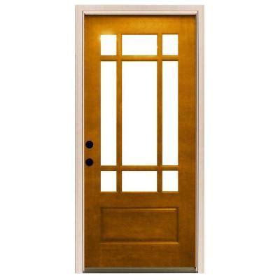 36x84 Exterior Door Steves Sons 36 In X 80 In Craftsman 9 Lite Stained Mahogany Wood Prehung Front Door M3109 6
