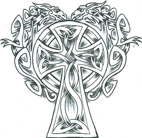 simple celtic dragons cross design clipart best