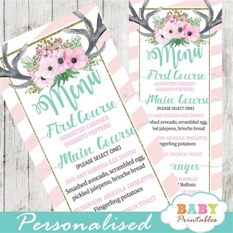 pink deere baby shower pink floral antlers deer baby shower food menu d320