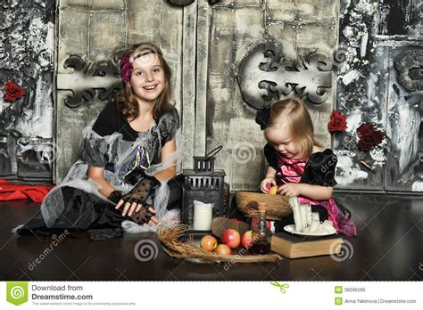 two little witches a two little halloween witches royalty free stock photo image 36096285