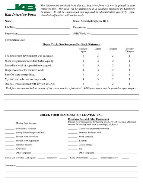 employee exit form template employee exit questions template 28 images