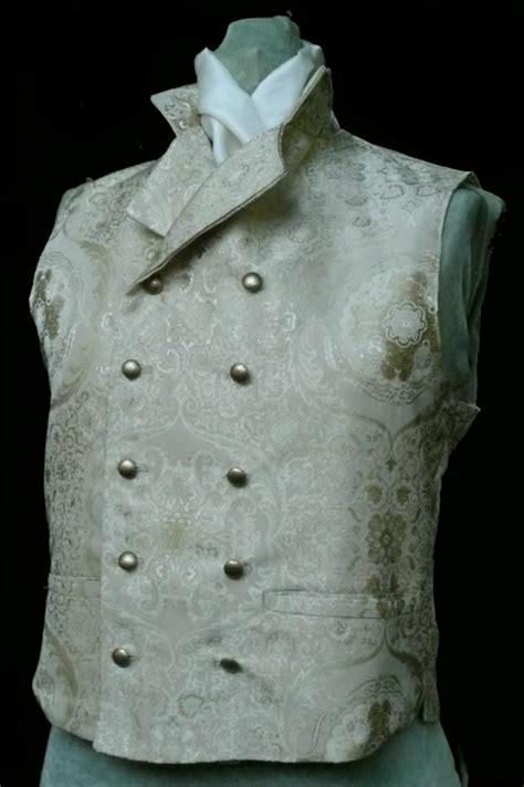 gold pattern waistcoat mans english regency wedding vest double breasted grooms