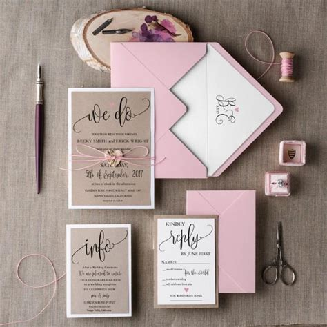 rustic wedding invitation set 20 wedding invitation suite pink invitation wedding
