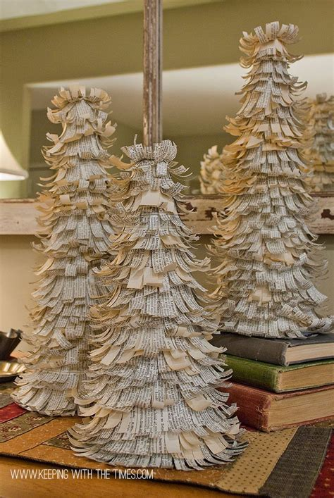 diy dictionary paper trees for the holidays