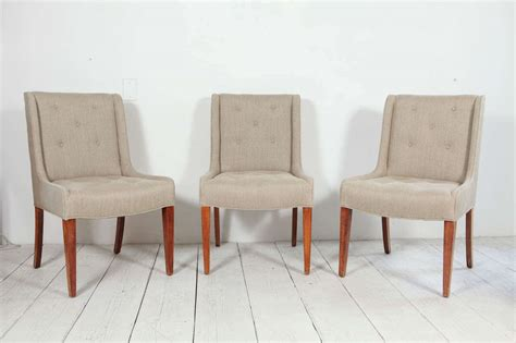 Dining Room Set With Linen Chairs Set Of Six Tufted Dining Chairs In Hemp Linen At 1stdibs