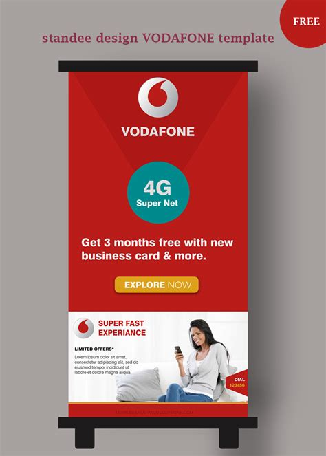 Credit Format For Vodafone Standee Design Vector Templates