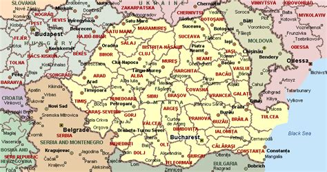 romania map with cities map of romania counties