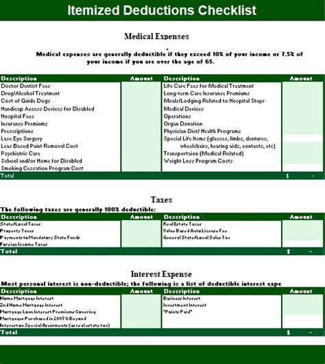 itemized template itemized deduction templates 2 printable word pdf formats