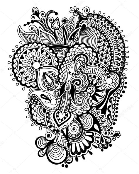 black zentangle line art flower drawing stock vector