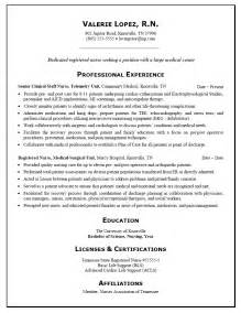 Exles Of Nurses Resumes by Resume Sample For A