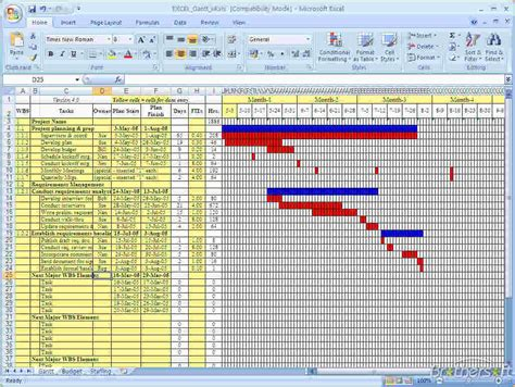Simple Excel Gantt Chart Template by Free Gantt Chart Excel Template Ganttchart Template