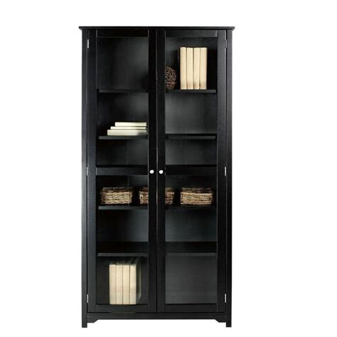 Black Bookcases With Glass Doors Home Decorators Collection Oxford Black Glass Door Bookcase 3012250210 The Home Depot