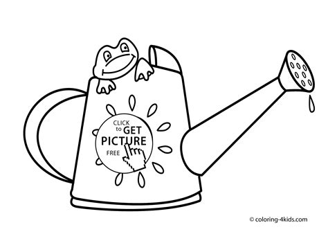 The Gallery For Gt Watering Can Drawing Watering Can Coloring Page
