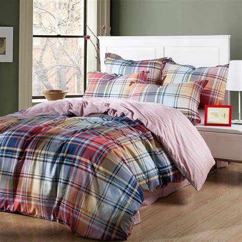 plaid bed rainbow plaid and striped king size bedding sets