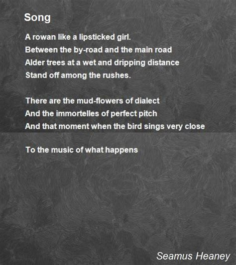 song by song poem by seamus heaney poem