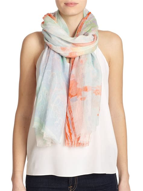 tilo coffee printed cotton modal scarf in blue lyst