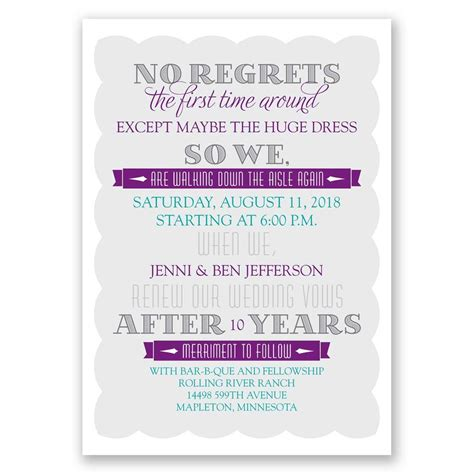 Wording Of Wedding Renewal Invitations by No Regrets Vow Renewal Invitation Invitations By