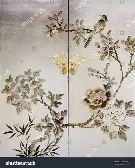 decorative painting on furniture elegant decorative painting on old furniture stock photo