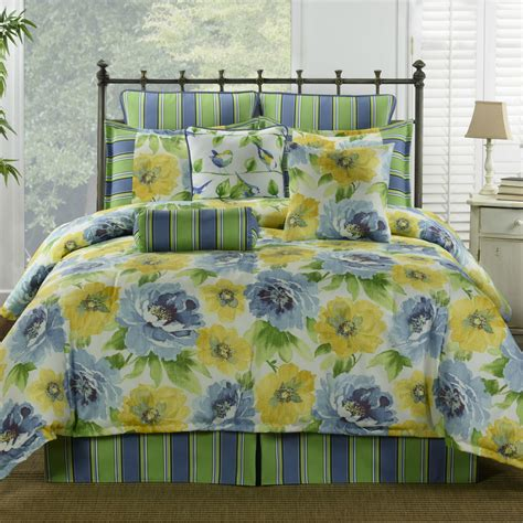 4pc blue green yellow floral with striped design comforter