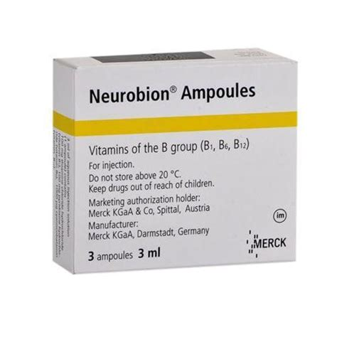 neurobion vitamin b complex injectable 3 x 1ml s 20