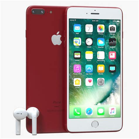 iphone   red  airpods cgtrader