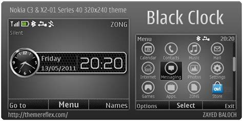 black theme for nokia c3 00 and x2 01 wb7themes black clock theme for nokia c3 x2 01 themereflex