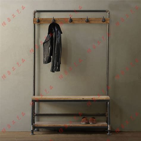 Shoe Bench Uk Nordic American Country Industrial Pipes Iron Coat Rack