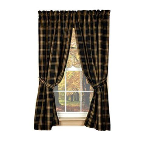 black country curtains new primitive country homespun classic tan black plaid