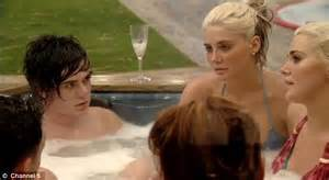 Celebrity Big Brother Frankie Cocozza Gets Some Jacuzzi Action With The Playboy Twins