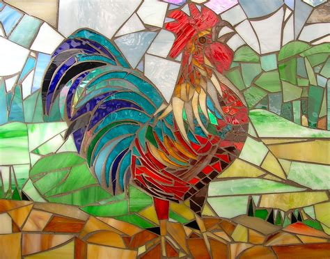 mosaic rooster pattern crowing cockerel card mosaic art rooster card mosaic