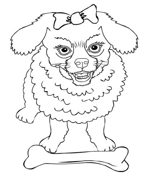 Dog, : Angry Dog Protecting Its Bone Coloring Page