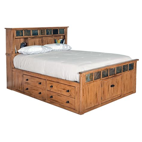 queen size storage beds od o m283 t mission oak chest bed with 4 drawers 2