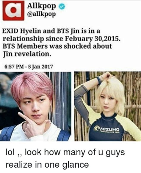 Jins Meme - allkpop exid hyelin and bts jin is in a relationship since