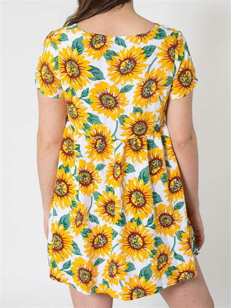 Lamora Summer Sunflower Shirt summer blouses clothing brand sunflower printed rayon babydoll dress free clothing