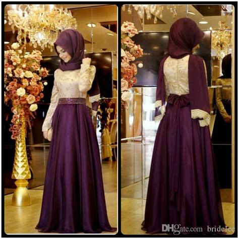 Abaya Saudi Bordir Gold 2016 muslim evening dresses a line sleeves purple