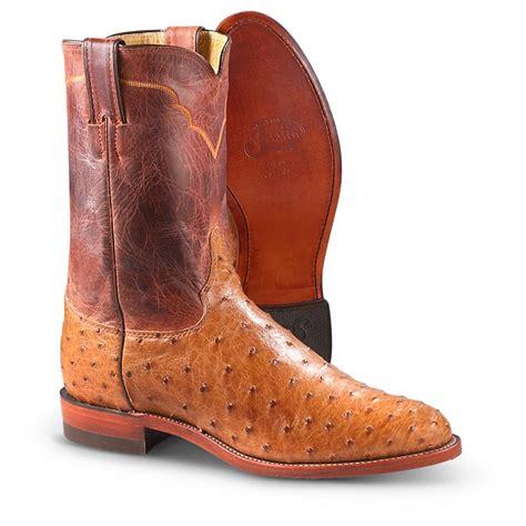 s justin 174 10 quot ostrich roper boots cognac 231931