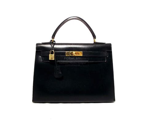 Hermes Black hermes black 32cm box leather rigid bag 6200 0000