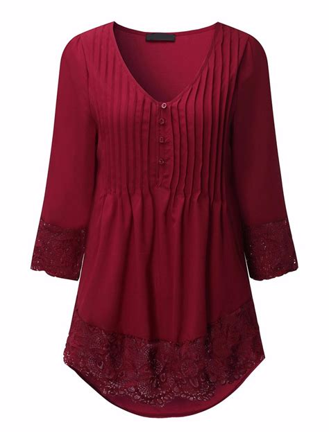Casual Blouse casual v neck pleated lace patchwork three quarter