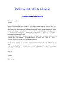 college farewell invitation letter sle farewell letter to colleaguesgoodbye letter formal letter sle cover latter sle