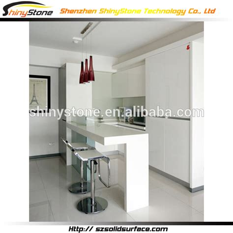 Mini Bar Counter Designs For Homes Designer White Glossy Finish Solid Surface Artificial