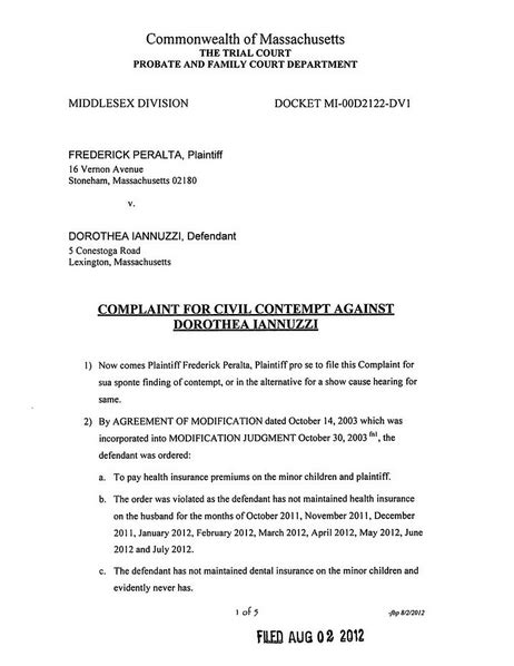 Contempt In Probate And Family Court Mba by Chris King S Amendment Page Judge Dorothy Gibson