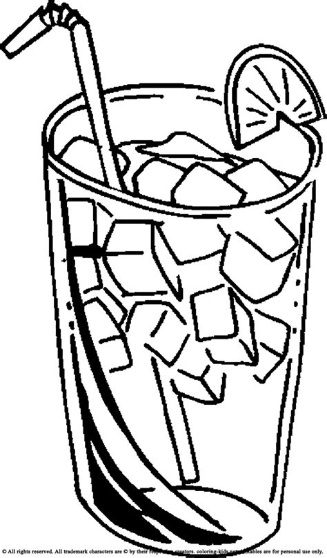 drinking ice cold juice drinks coloring pages