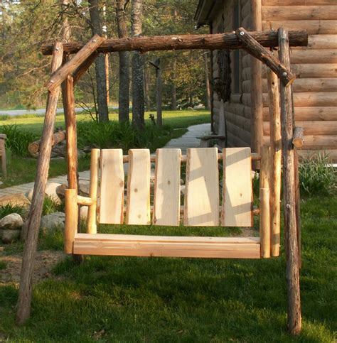 lawn swing rustic log cabin cedar furniture rustic dcor cedar