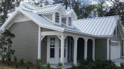 30769 Gray White Two Side grey house with grey standing seam roof and white trim