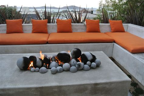 fire pit bench cushions modern patio with exterior stone floors by shades of green landscape architects