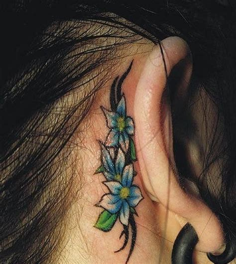 flower tattoo behind ear women tattoo images designs