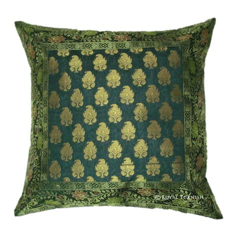 16 inch green decorative silk brocade throw floral pillow