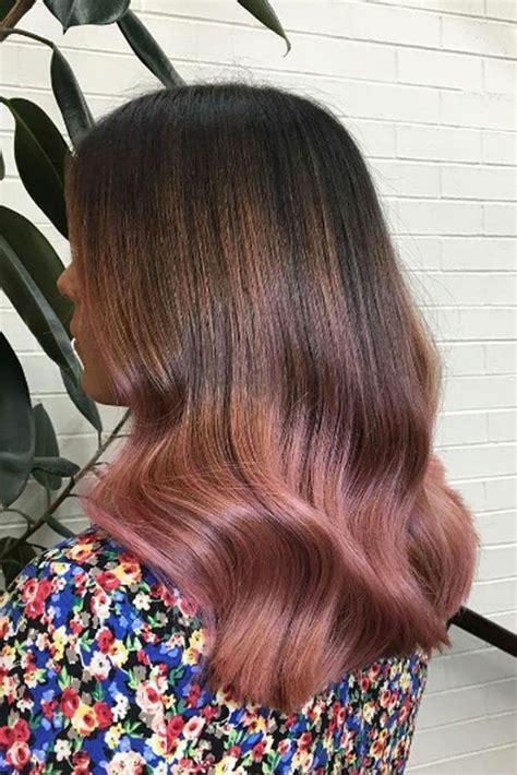 brunette to rose gold hair 35 sparkling brilliant rose gold hair color ideas