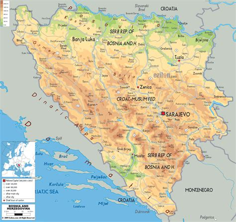 where is bosnia on a world map detailed physical map of bosnia and herzegovina with roads