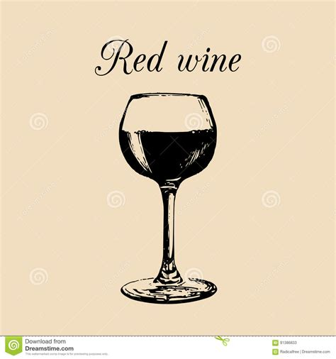 cafe design wine glass red wine glass isolated hand drawn sketch of claret for